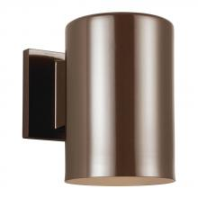 "Sea Gull 8313901BLE-10 - Fluorescent 6"" Outdoor Bullet One Light Wall Lantern in Bronze"