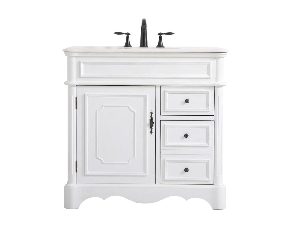 36 Inch Single Bathroom Vanity In, 36 Inch Antique White Bathroom Vanity